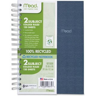 Mead Eco-friendly Recycled College Rule 1 Notebook in Assorted Colors