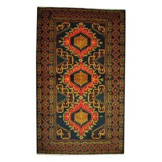 Herat Oriental Afghan Hand-knotted 1960s Semi-antique Tribal Balouchi Green/ Gold Wool Rug (4' x 6'6