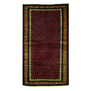 Herat Oriental Afghan Hand-knotted 1960s Semi-antique Tribal Balouchi Wool Rug (3'8 x 6'5)