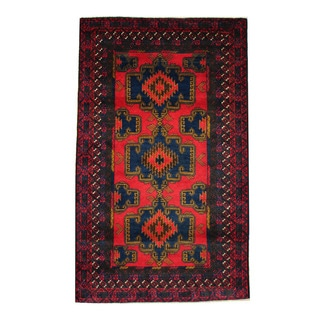 Herat Oriental Afghan Hand-knotted 1960s Semi-antique Tribal Balouchi Wool Rug (3'8 x 6'1)