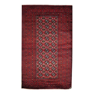 Herat Oriental Afghan Hand-knotted 1960s Semi-antique Tribal Balouchi Wool Rug (3'10 x 6'1)