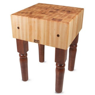 John Boos Warm Cherry Stain Butcher Block 30 x 30 Table and Henckels 13-piece Knife Block Set