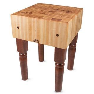 John Boos Warm Cherry Stain Butcher Block 30 x 30 Table and Henckels 13-piece Knife Block Set