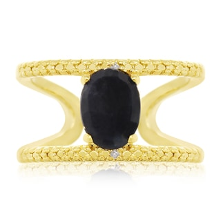 1.60 TGW Sapphire and Diamond Open Shank Ring In Yellow Gold Over Sterling Silver
