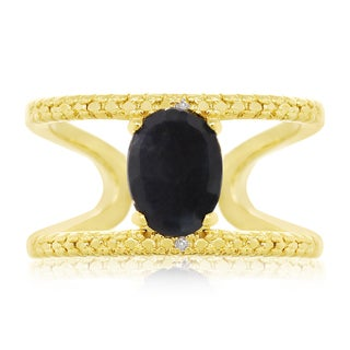 1.60 Carat Sapphire and Diamond Open Shank Ring In 14 Karat Yellow Gold