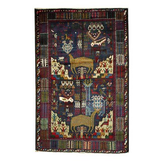 Herat Oriental Afghan Hand-knotted 1960s Semi-antique Tribal Balouchi Wool Rug (4'1 x 6'3)