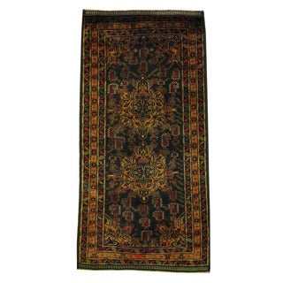 Herat Oriental Afghan Hand-knotted 1960s Semi-antique Tribal Balouchi Wool Rug (3'2 x 6'6)