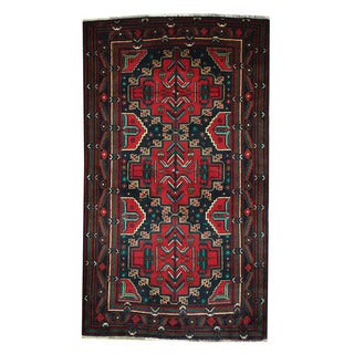 Herat Oriental Afghan Hand-knotted 1960s Semi-antique Tribal Balouchi Wool Rug (3'8 x 6'7)