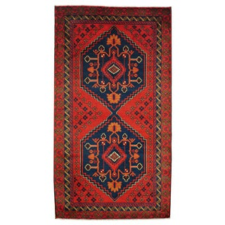 Herat Oriental Afghan Hand-knotted 1960s Semi-antique Tribal Balouchi Wool Rug (3'8 x 6'8)