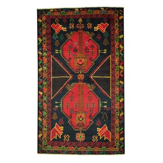 Herat Oriental Afghan Hand-knotted 1960s Semi-antique Tribal Balouchi Wool Rug (3'9 x 6'4)