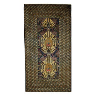 Herat Oriental Semi-Antique Afghan Hand-knotted Tribal Balouchi Navy/ Beige Wool Rug (3'6 x 6'8)