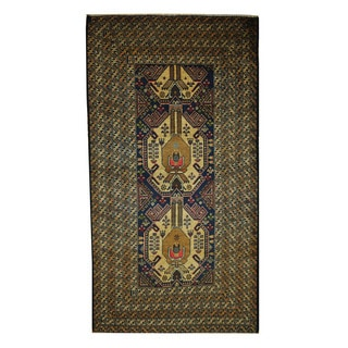 Herat Oriental Afghan Hand-knotted 1960s Semi-antique Tribal Balouchi Wool Rug (3'6 x 6'8)