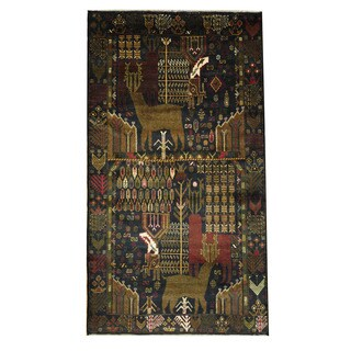 Herat Oriental Afghan Hand-knotted 1960s Semi-antique Tribal Balouchi Wool Rug (3'8 x 6'8) - 3'8 x 6'8