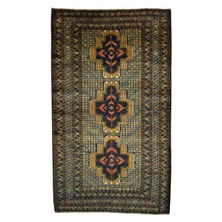 Herat Oriental Semi-Antique Afghan Hand-knotted Tribal Balouchi Navy/ Gold Wool Rug (3'10 x 6'8)