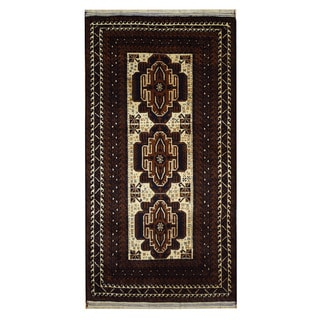 Herat Oriental Semi-Antique Afghan Hand-knotted Tribal Balouchi Ivory/ Brown Wool Rug (3'3 x 6'3)