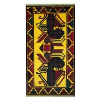 Herat Oriental Afghan Hand-knotted 1960s Semi-antique Tribal Balouchi Wool Rug - 3'6 x 6'5