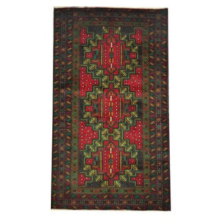 Herat Oriental Semi-Antique Afghan Hand-knotted Tribal Balouchi Green/ Red Wool Rug (3'9 x 6'6)