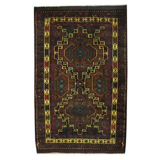 Herat Oriental Afghan Hand-knotted 1960s Semi-antique Tribal Balouchi Wool Rug (4' x 6'6)