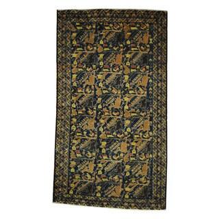 Handmade Herat Oriental Afghan 1960s Semi-antique Tribal Balouchi Wool Rug (Afghanistan) - 3'7 x 6'6