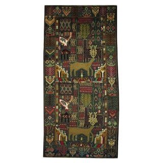 Herat Oriental Afghan Hand-knotted 1960s Semi-antique Tribal Balouchi Wool Rug (3'3 x 6'9)