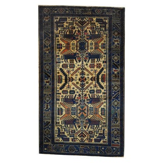 Herat Oriental Semi-Antique Afghan Hand-knotted Tribal Balouchi Ivory/ Blue Wool Rug (3'7 x 6'4)
