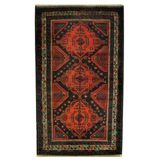 Herat Oriental Semi-Antique Afghan Hand-knotted Tribal Balouchi Rust/ Black Wool Rug (3'9 x 6'6)