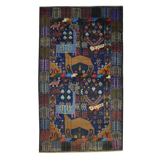 Herat Oriental Semi-Antique Afghan Hand-knotted Tribal Balouchi Blue/ Brown Wool Rug (3'7 x 6'4)