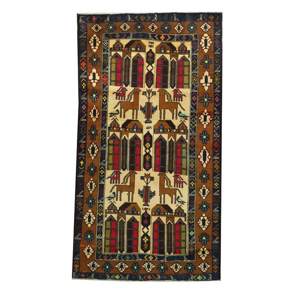 Herat Oriental Afghan Hand-knotted 1960s Semi-antique Tribal Balouchi Wool Rug (3'3 x 6'2)