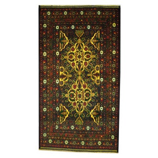 Herat Oriental Semi-Antique Afghan Hand-knotted Tribal Balouchi Green/ Yellow Wool Rug (3'7 x 6'3)