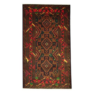 Herat Oriental Afghan Hand-knotted 1960s Semi-antique Tribal Balouchi Wool Rug (3'7 x 6'5)
