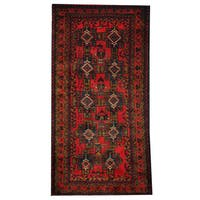 Herat Oriental Afghan Hand-knotted 1960s Semi-antique Tribal Balouchi Wool Rug (3'6 x 6'11) - 3'6 x 6'11