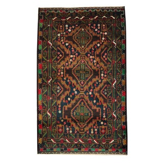 Herat Oriental Semi-Antique Afghan Hand-knotted Tribal Balouchi Navy/ Brown Wool Rug (3'10 x 6'4)
