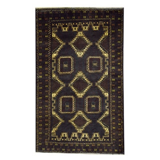 Herat Oriental Afghan Hand-knotted 1960s Semi-antique Tribal Balouchi Wool Rug (3'8 x 6')