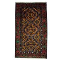 Handmade Herat Oriental Afghan 1960s Semi-antique Tribal Balouchi Wool Rug - 3'7 x 6'3 (Afghanistan)