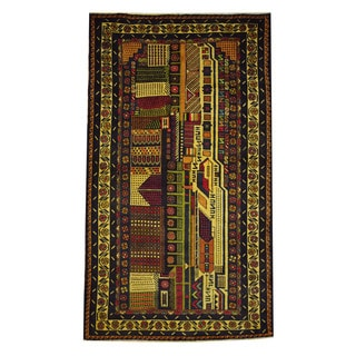 Herat Oriental Afghan Hand-knotted 1960s Semi-antique Tribal Balouchi Wool Rug (3'10 x 6'8)