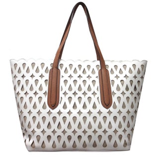 Perforated Patent Tote Coral/ White