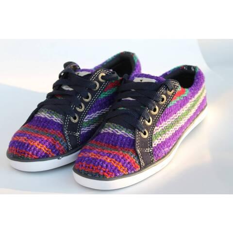 Handmade ANDIZ Women's Handmade Multi-colored, Purple Low-cut Wool Oxford Shoes (Ecuador)