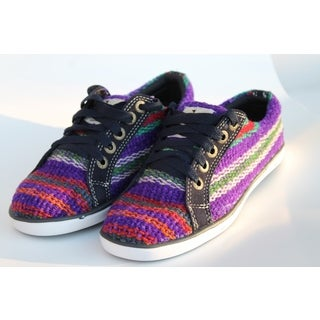 Handmade ANDIZ Women's Handmade Multi-colored, Purple Low-cut Wool Oxford Shoes (Ecuador)