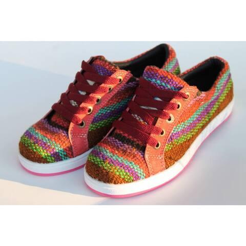 Handmade ANDIZ Women's Handmade Multi-colored, Brown Low-cut Wool Oxford Shoes (Ecuador)