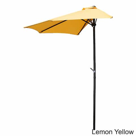 International Caravan St Kitts 9 Foot Crank Wall Hugger Half Patio Umbrella