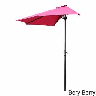 International Caravan St. Kitts 9-foot Half Round Wall Hugger Patio Umbrella with Crank