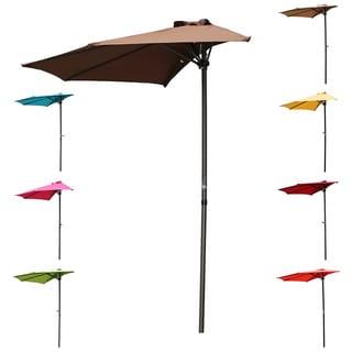 International Caravan St. Kitts 9 Foot Crank Tilt Wall Hugger Half Patio  Umbrella