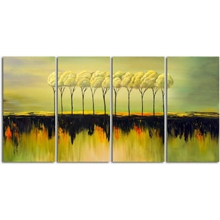 'Sunset in The Savanna' Original Oil Painting on Wrapped Canvas Wall Art (Set of 4)