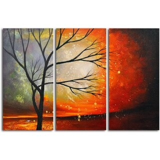 'Tree in The Blazing Sun' Original Oil Painting on Wrapped Canvas Wall Art (Set of 3)