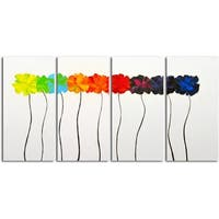 'Colorful Arrangement' Original Oil Painting on Wrapped Canvas Wall Art (Set of 4)