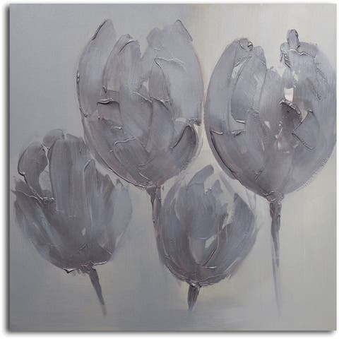 'Tulips in Neutral' Original Oil Painting on Wrapped Canvas Wall Art