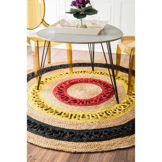 nuLOOM Alexa Eco Natural Fiber Braided Reversible Jute Rug (4' Round)
