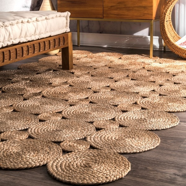nuLOOM Alexa Eco Natural Fiber Braided Reversible Circles Jute Area Rug