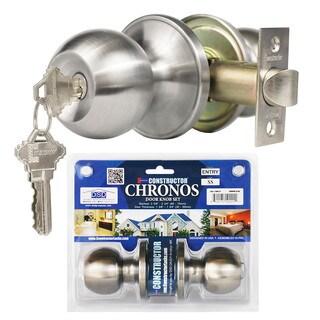 Chronos Entry Stainless Steel Finish Door Lever Lock Set Knob Handle Set