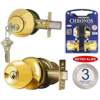 Chronos Combo Entry and Deadbolt Single Cylinder Keyed-alike Polished Brass Finish Door Lever Lock Set Knob Handle Set